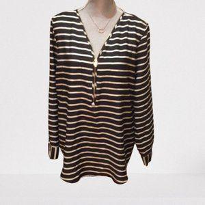 CK striped gold zip neck blouse